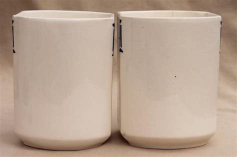 Pantry Canisters by Shabby Antique Vintage Blue White China Canister Jars