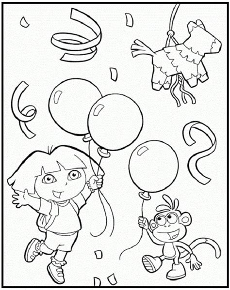 happy birthday dora coloring pages 1000 images about birthday on pinterest birthday cakes