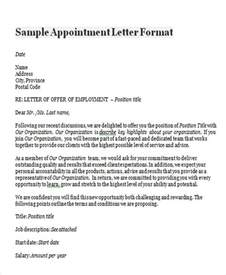 Appointment Letter Template Uk Appointment Letter Format