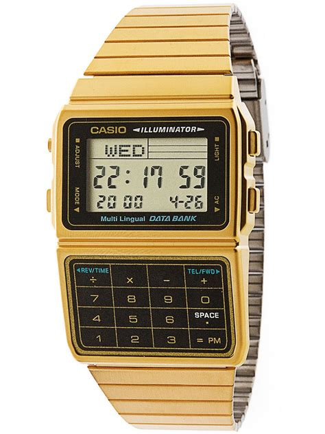 Casio Gold casio dbc611g 1df gold stainless steel databank calculator
