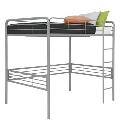 dhp full metal loft bed silver