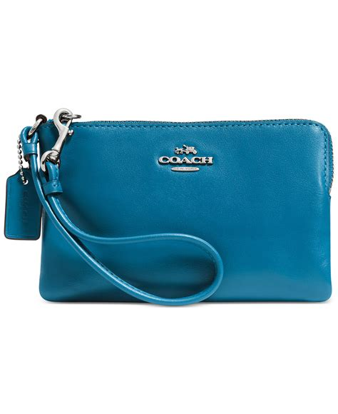 Coach Wristlet Zipp coach corner zip leather wristlet in peacock everything