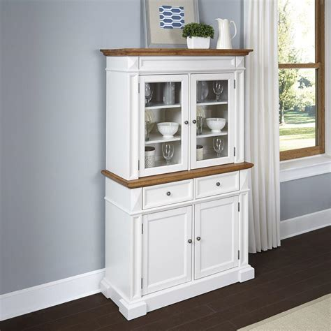 buffet hutch white home styles americana white and oak buffet with hutch 5002 697 the home depot