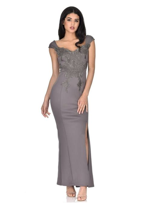 6646 Maxi Sahada T13 1 s grey lace overlay maxi dress ax usa fashion dresses black dresses evening