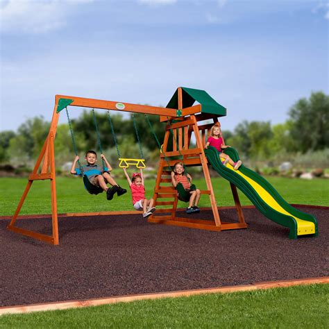 cedar backyard playsets backyard discovery prescott cedar wooden swing set pics