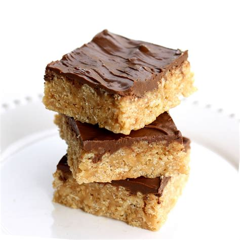 peanut butter rice krispie bars with chocolate topping scotcheroos the girl who ate everything