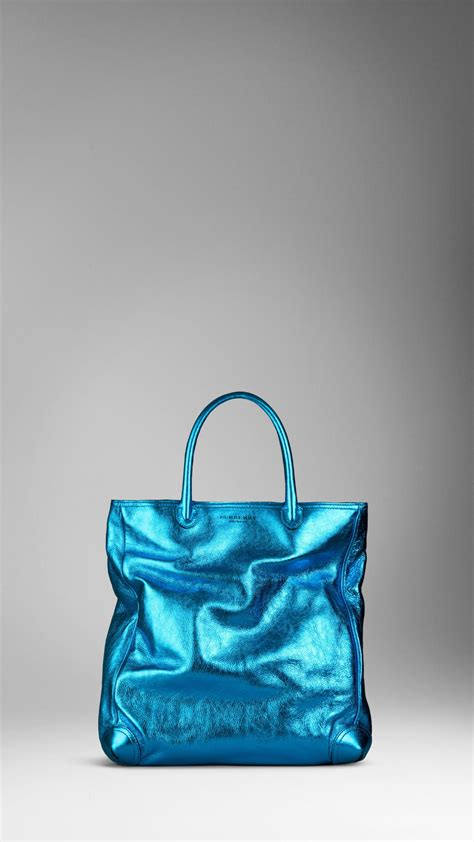 Ficcare Metallic Leather Bags by Lyst Burberry Metallic Leather Tote Bag In Blue For
