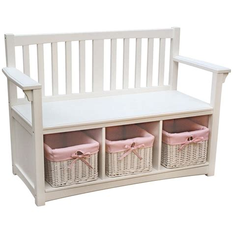 white bench with baskets guidecraft 174 classic white storage bench with baskets
