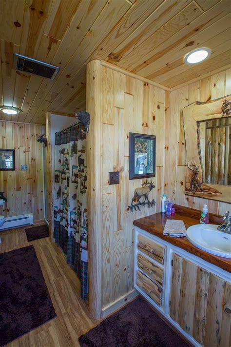 rustic bathroom design   decorative wood trim