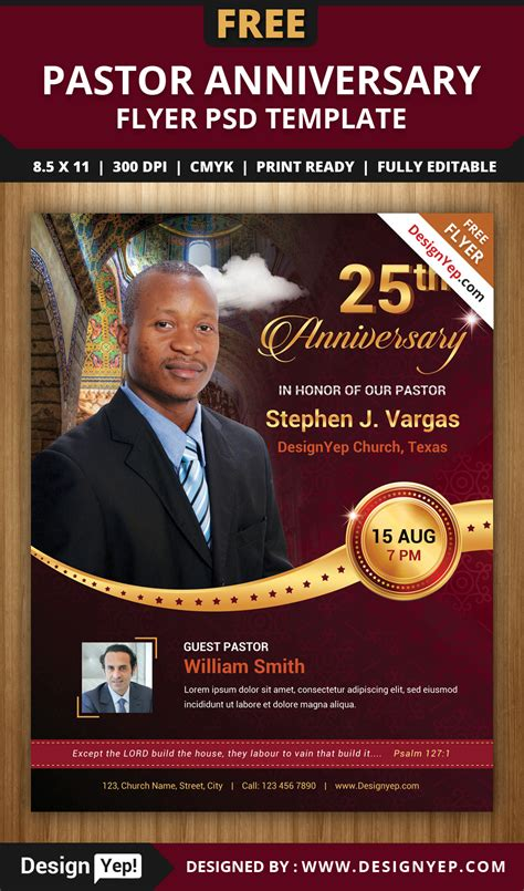 free pastor anniversary program templates free pastor anniversary flyer psd template on behance