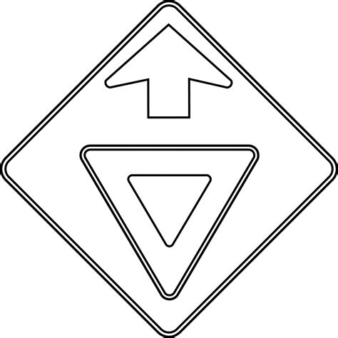 Road Sign Outlines by Yield Ahead Outline Clipart Etc
