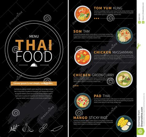thai food menu stock vector image 58921325