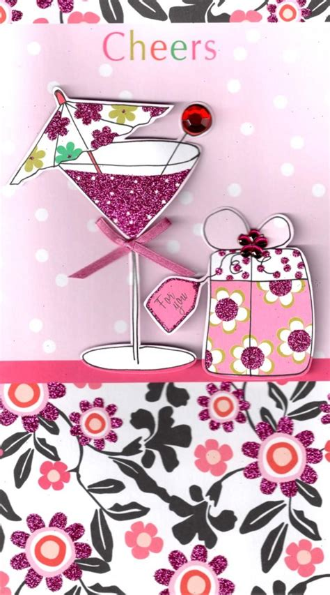 Cheers Pretty Happy Birthday Greeting Card   Cards   Love