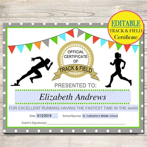 track and field certificate templates free track and field certificate templates