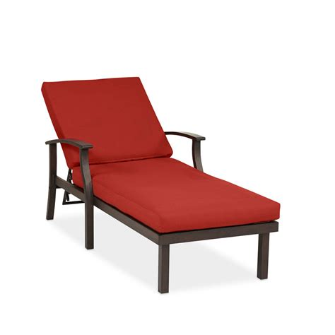 Patio Chaise Lounge Chairs Shop Allen Roth Gatewood 1 Count Brown Metal Patio Chaise Lounge Chair With Canvas Chili With