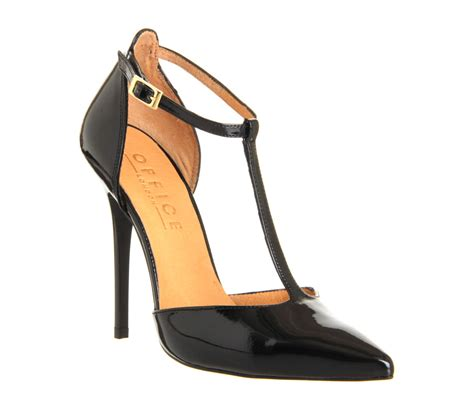Heels T In Black By office selina t bar point black patent high heels
