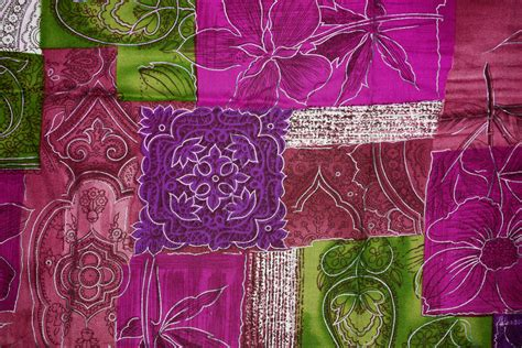 Patchwork Fabrics - magenta green and purple patchwork fabric texture picture