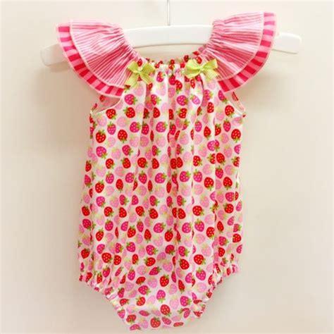 free pattern for girls flutter sleeve romper sewing strawberry shortcake romper playsuit baby girl