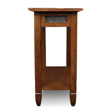 slate accent table leick furniture rustic slate chairside small rustic oak