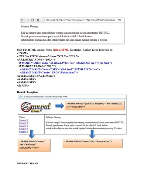 cara membuat index html cara membuat frame html