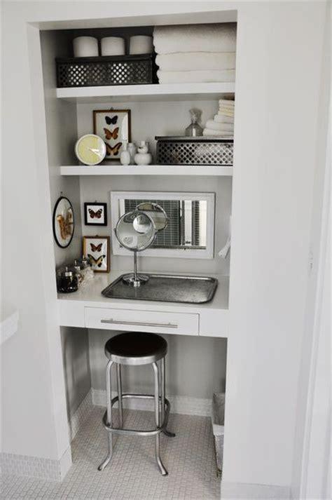 Closet Vanity by Bathroom Closet Turned Small Vanity House