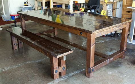 farm style dining table with bench farmhouse style table bench by brentmore lumberjocks