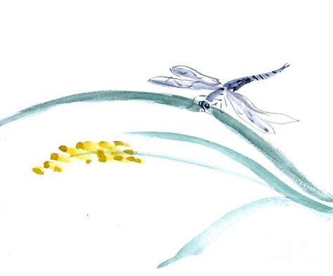 dragonfly landing painting by ellen miffitt