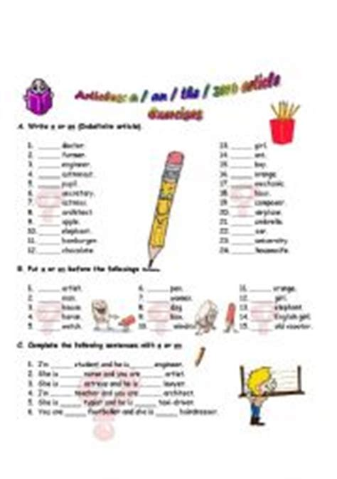grammar exercise the definite and indefinite articles english worksheets definite and indefinite articles