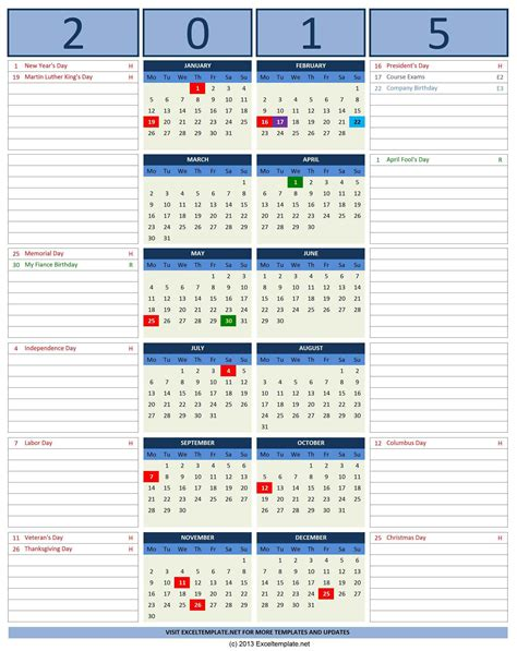 Calendar Excel 2015 2015 Calendar Templates Microsoft And Open Office Templates
