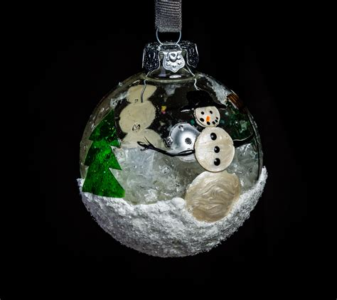 christmas ornaments by eb alana snowman black background