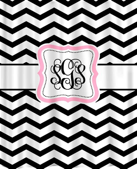 Black And White Chevron Curtains Personalized Shower Curtain Black White Chevron By Redbeauty