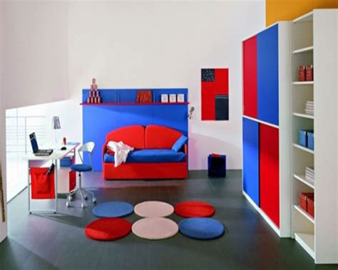 Bedroom Designs Cool Kids Bedroom Ideas For Boys Blue Red Cabinets Grey Floor