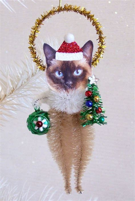 siamese cat christmas ornament feather tree