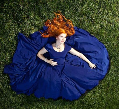 Redhead Bridesmaid Wearing Blue Dress 2015 Hairdo | wedding guest dress inspiration for redheads how to be a