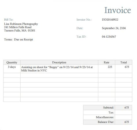invoice photography template photography invoice template 7 free sles exles
