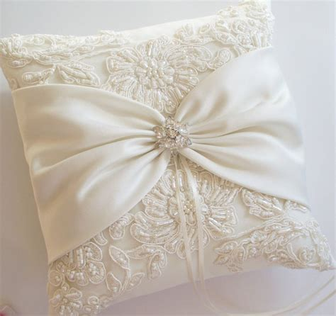 Pillows For Wedding Rings by Wedding Ring Pillow With Beaded Alencon Lace Ivory By Jlweddings