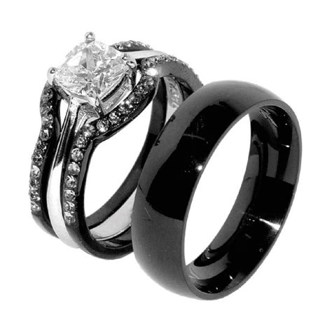 Wedding Rings Matching Sets by His Hers 4 Pcs Black Ip Stainless Steel Wedding Ring Set