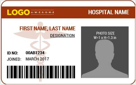 hospital id badge template doctor s photo id badge templates for ms word word