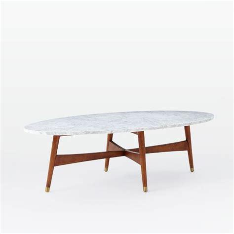 mid century oval coffee table reeve mid century oval coffee table marble top elm