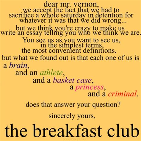 Closing Letter From The Breakfast Club Pin By Shannon Caldwell On Gotta The 80s 90s The Ole Days