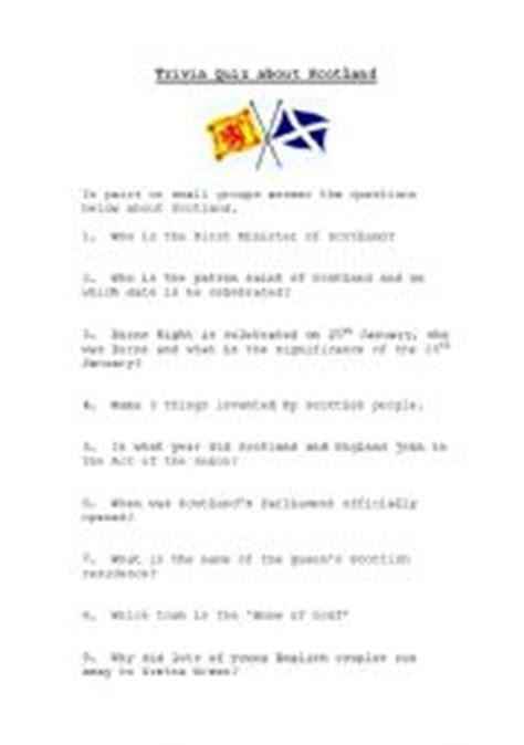 Printable Quiz About Scotland | scotland quiz worksheet by kaz76