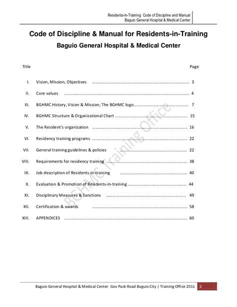 BGH MC Code of Discipline & Manual for Residents in Training