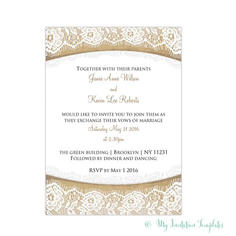 burlap and lace wedding invitations template