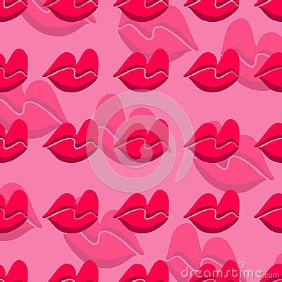 pink lips pattern pink lips seamless pattern on a background stock vector
