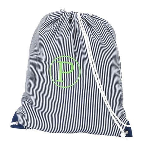 Navy Pinstripe Gym Bag
