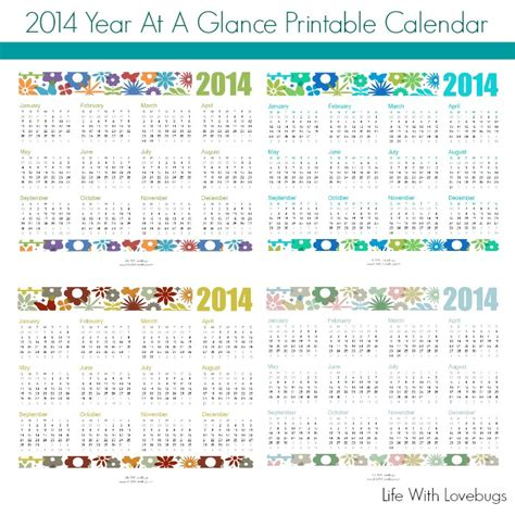 printable calendar at a glance 2014 year at a glance printable calendar 1
