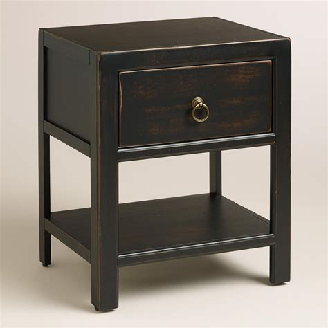 Black Nightstands by Antique Black Wood Ovid Nightstand World Market