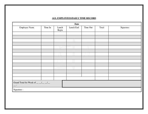 employee record form template daily time log sheet pictures to pin on pinsdaddy