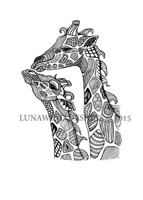 zentangle pattern giraffe hand drawn pen and ink zentangle giraffe signed print