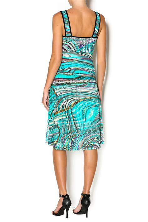 salaam turquoise and black dress from massachusetts by